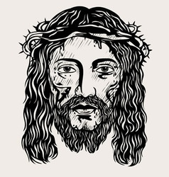 Jesus Christ face vector image vector image