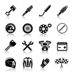 Motorcycle parts black set vector image vector image