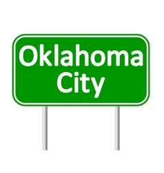 Oklahoma city green road sign vector