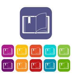 Open book icons set vector