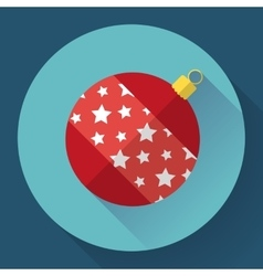 Red christmas ball decoration icon Flat designed vector image vector image