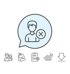 remove user line icon male profile sign vector image vector image