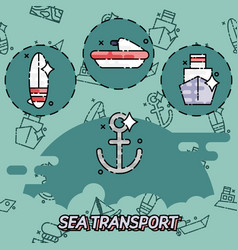 Sea transport flat concept icons vector