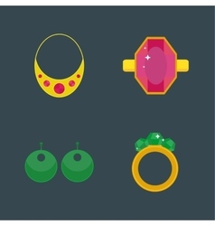 Set of cartoon jewelry accessories vector