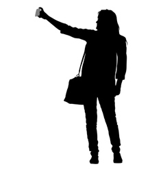 Silhouettes woman taking selfie with smartphone on vector image vector image