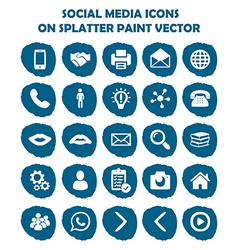 Social media icon set on blue light splatter paint vector