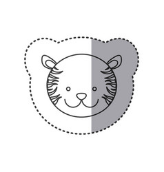 Sticker of grayscale contour with face of tiger vector