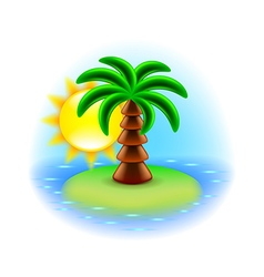 Sunny island icon isolated on white vector
