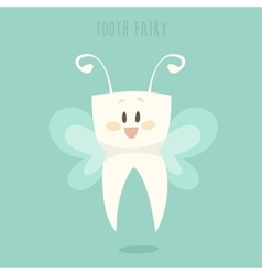 Tooth fairy healthy teeth flat design vector