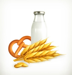 Wheat milk and bread isolated vector image vector image
