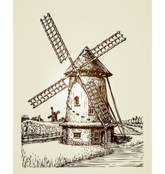 Windmill mill or bakery Vintage hand drawn vector image vector image