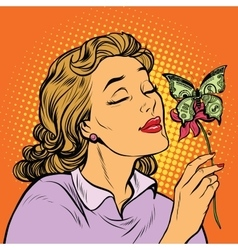 Woman and butterfly money the concept of charity vector