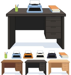 Wood desk with typewriter set of vector