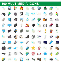 100 multimedia icons set cartoon style vector image