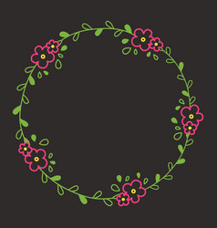 Floral colorful line wreath or circle frame with vector