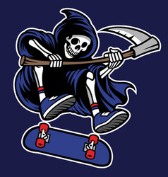 Grim reaper riding skateboard vector