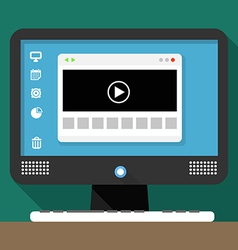 Modern personal computer with media browser window vector