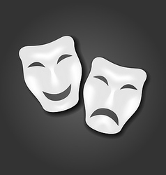Comedy and tragedy masks for carnival or theatre vector