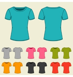 Set of templates colored t-shirts for women vector