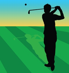 Golfer black on green grass vector