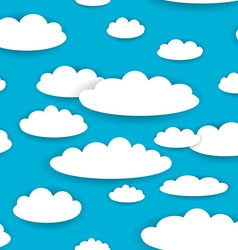 White clouds on blue sky seamless background vector