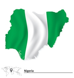 Map of nigeria with flag vector