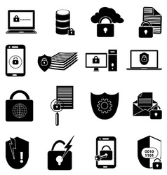 Data protection icons set vector