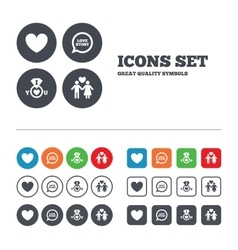 Valentine day icons i love you ring sign vector