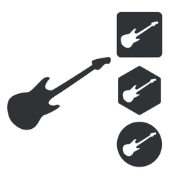 Guitar icon set monochrome vector