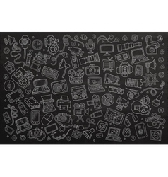 Chalkboard hand drawn doodle set equipment vector