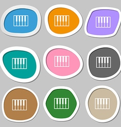 Piano key symbols multicolored paper stickers vector
