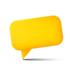 Abstract yellow glossy speech bubble with shadow vector