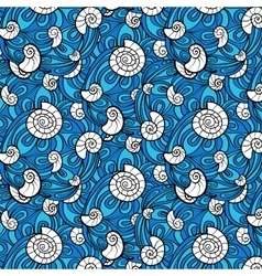 Seashell pattern in abstract blue waves vector