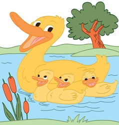 Happy duck family vector