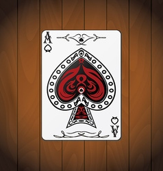 Ace of spades poker cards varnished wood vector
