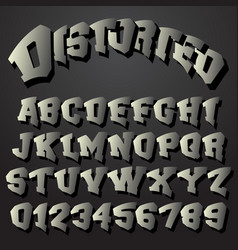 Alphabet font distorted design vector