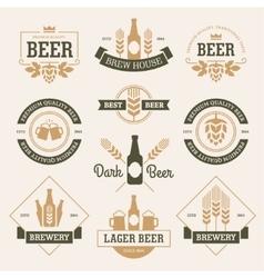 Beer emblems on light background vector image