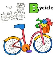 Bicycle coloring book page cartoon vector