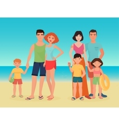 Cartoon family couple with kids on the sea vector