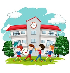Children in school band at school vector