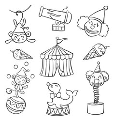 Collection object circus doodle style hand draw vector