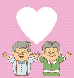 Color dotted background card with elderly couple vector