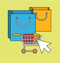 Color line icons on the theme of online shopping vector image