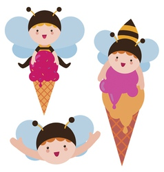 Cute bee babies with ice cream vector image vector image