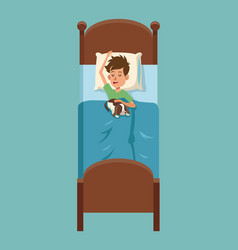 Cute little boy sleep with her pet in bed vector