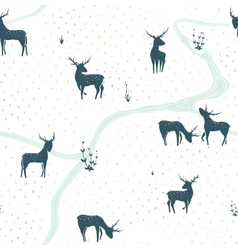 Deers Landscape Delicate Seamless Pattern vector image vector image