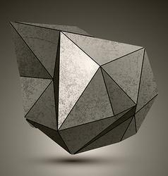Deformed dimensional facet bronze object 3d vector