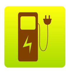 Electric car charging station sign brown vector