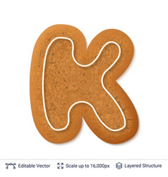 gingerbread letter k isolated on white vector image
