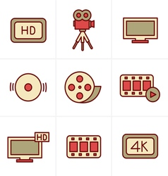 Icons Style Movie icons set vector image